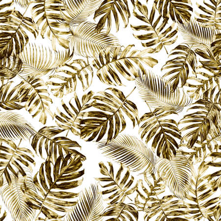Gold tropical leaves seamless pattern of native Monstera philodendron or Golden Pothos and palm leaves with gold effect, elegant tropical nature background.