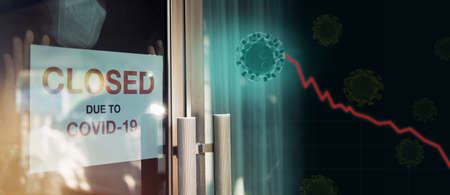 Business office is closed, bankrupt business, global economic crisis impact by Coronavirus COVID-19 pandemic concepts. Person wearing mask put closed sign on front door with 3d viruses recession graph