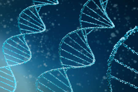 Abstract DNA medical background. 3d illustration of double helix blue DNA molecules uses in technology such as bioinformatics, genetic engineering, DNA profiling (Forensic science) and nanotechnology Stok Fotoğraf