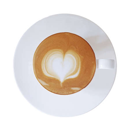 Top view of hot coffee cup latte with heart shaped latte art milk foam on white saucer isolated on white background