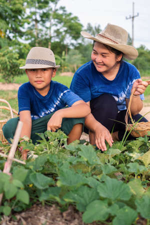 Asian boy working together with his mother in home vegetable garden, mother looking with love and pround of her little son.