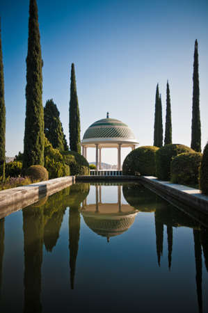malaga: Botanic Garden of Malaga, Andalusia, Spain with a pool