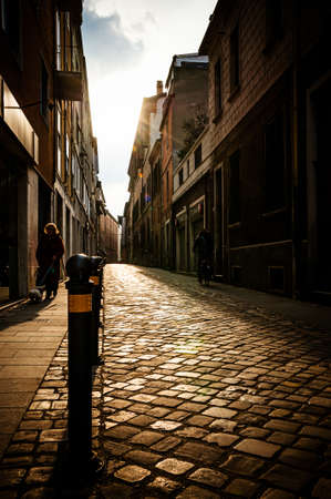 Rimini city early morning street scene