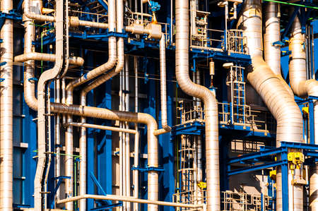 Industrial scene: refinery piping details Stock Photo