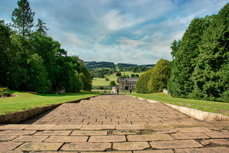 Chatsworth House - And english mansion. Chatsworth is home to the Duke and Duchess of Devonshire, and has been passed down through 16 generations of the Cavendish family. Stock Photo