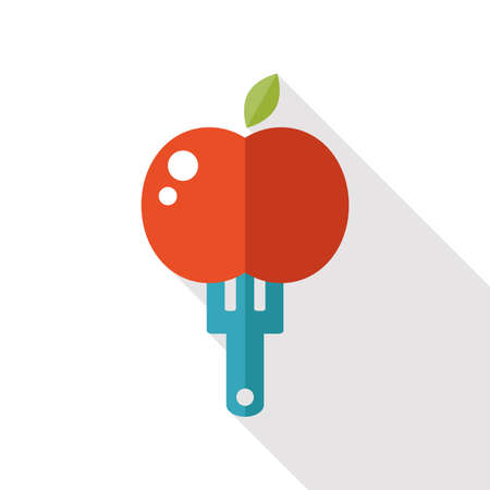 hebrew bibles: apple flat  icon with long shadow Illustration