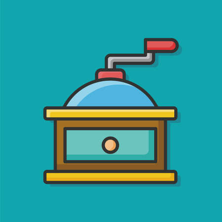 grind: coffee grind maker color line icon