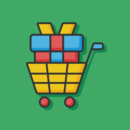 shopping cart icon: shopping cart color line icon