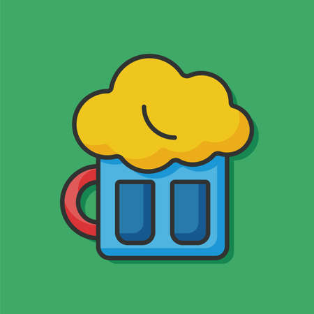 draught: beer color line icon Illustration