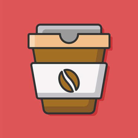 mug of coffee: hot coffee color line icon Illustration