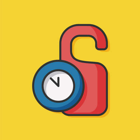 room card: hotel room card and clock color line icon