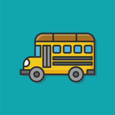 Школа: школьный автобус цвет значка линия