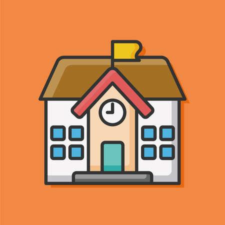 building color: school building color line icon