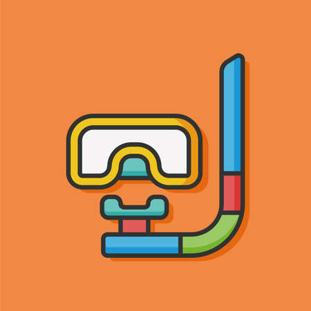ski wear: snorkel color line icon Illustration