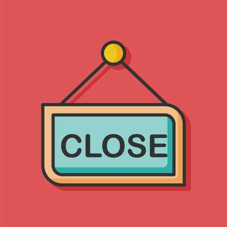 cerrar la puerta: cerrar entra icono de la línea de color