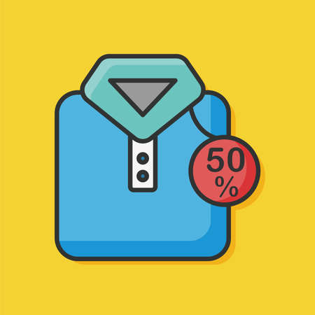 shirts on hangers: sale clothes color line icon Illustration
