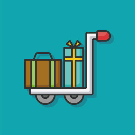 trolley case: suitcase trolley color line icon Illustration