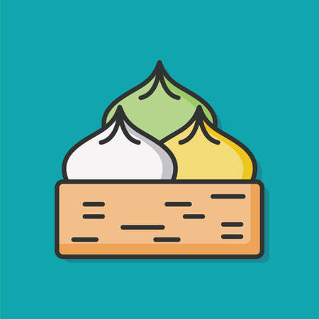 bun: Steamed stuffed bun icon Illustration
