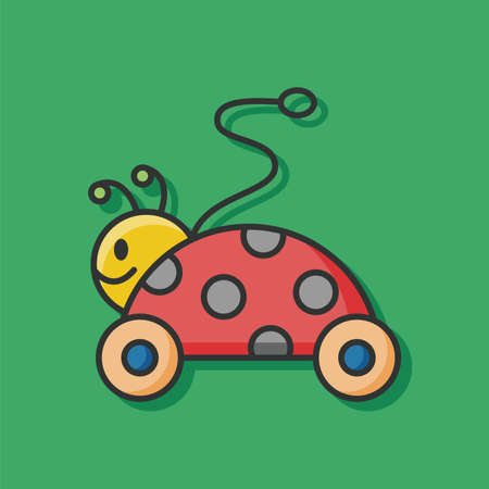 cute baby girls: toy car icon Illustration