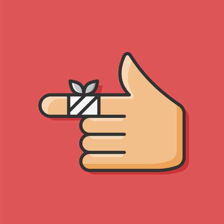 dedos: Icono de dedo lesionado