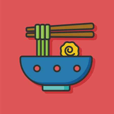 chinese dinner: noodle icon Illustration