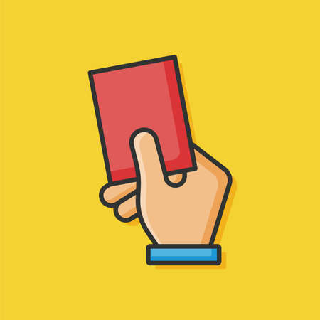 soccer referees hand with red card: game red card icon