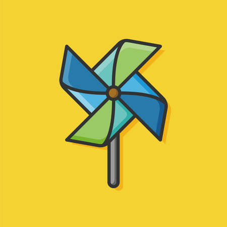 windmill toy: baby toy windmill icon Illustration