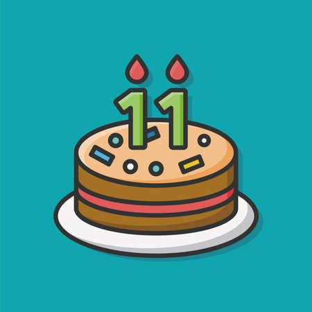 torta candeline: compleanno icona torta Vettoriali