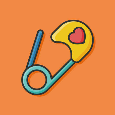 diaper pins: safety pin icon Illustration