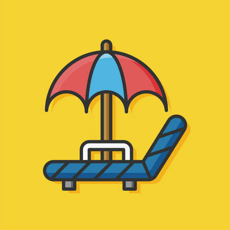 patio furniture: umbrella lounge icon