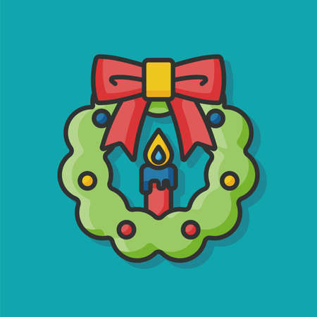 christmas icon: Christmas wreath icon Illustration