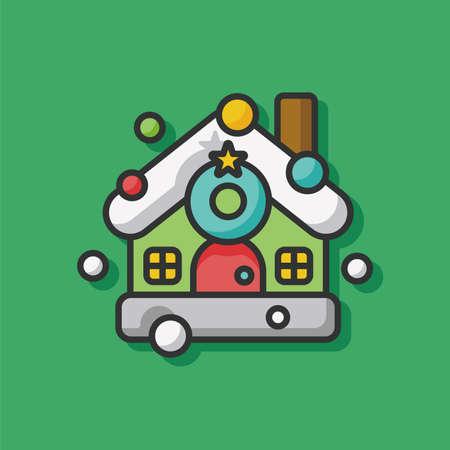 christmas house: Christmas house icon Illustration