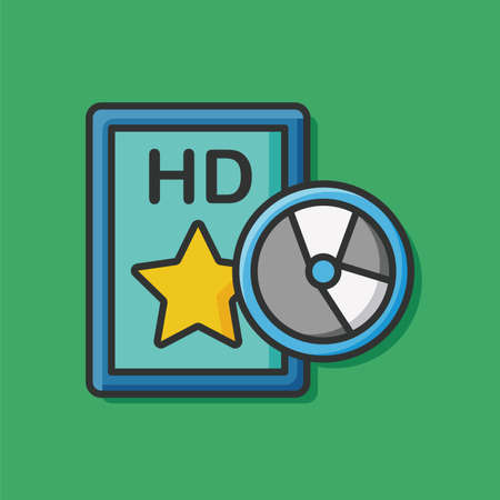 hd video: HD video tape icon Illustration