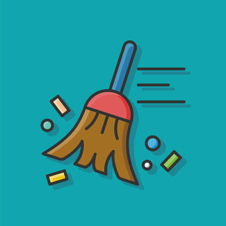 cleaning equipment: broom icon Illustration