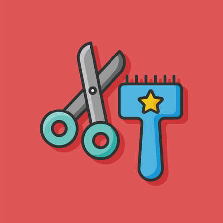 cat grooming: pet brush and scissors icon