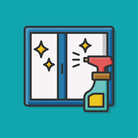 window cleaning: window cleaning detergent icon Illustration