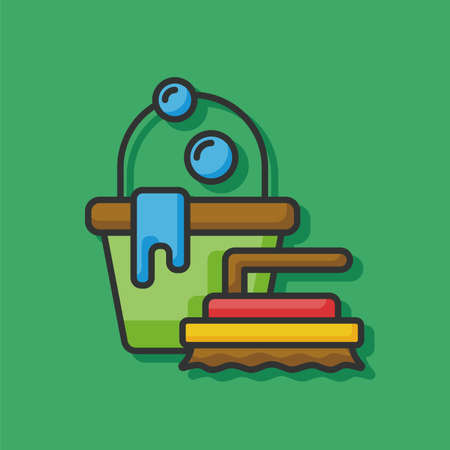 cleaner vacuuming symbol: cleaning brush and bucket icon