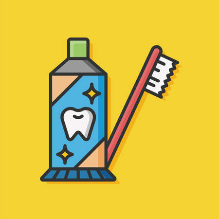 toothpaste: toothbrush and toothpaste icon