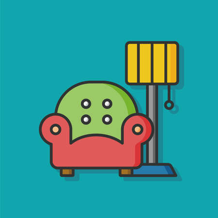 luxury homes: chair sofa flat icon Illustration