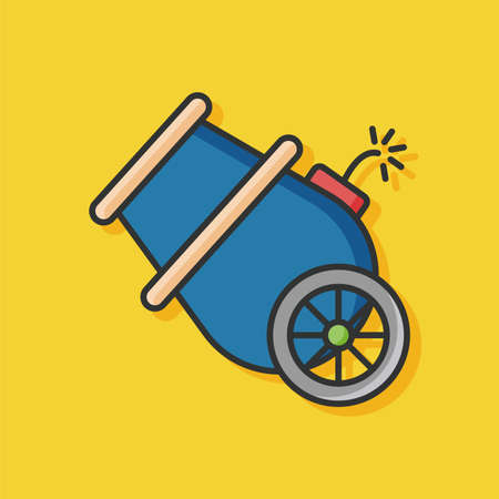 cannonball: Cannon flat icon Illustration