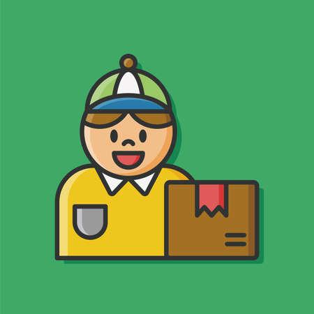 deliveryman: Deliveryman freight icon vector