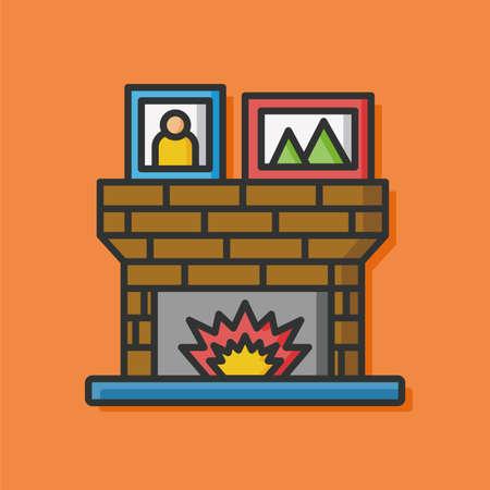 fireplace: Fireplace flat icon