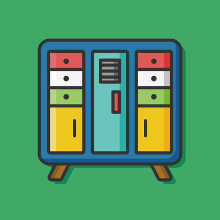 cabinet: closet cabinet flat icon Illustration