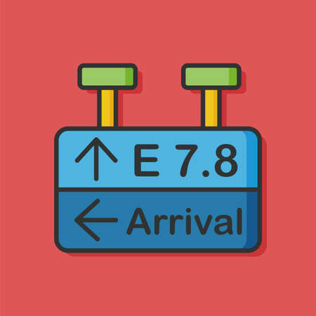 airport arrival: airport arrival board icon Illustration