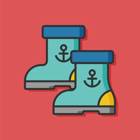 rain boots: botas de lluvia del icono del vector Vectores