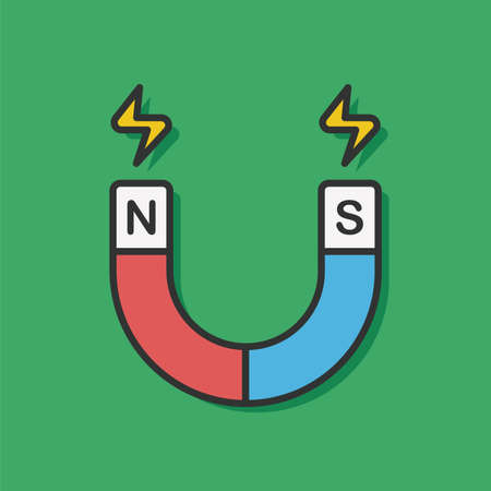 electromagnetism: science magnet vector icon