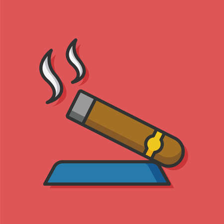 cuban cigar: cigar tobacco smoke icon Illustration