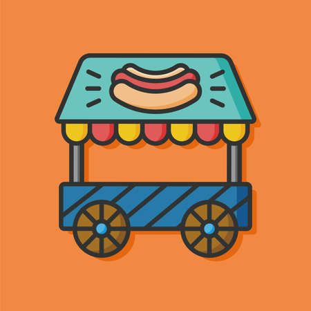 vendors: hot dog dining car icon Illustration