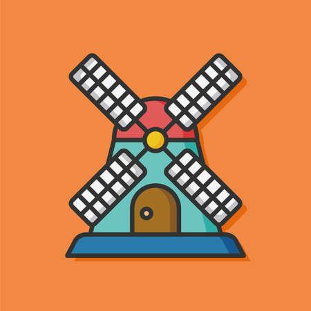 wind mill toy: farm windmill house icon
