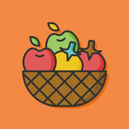 basket icon: fresh fruits basket icon
